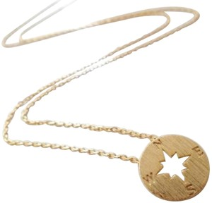 Other New circle disk necklace, compass necklace in gold.