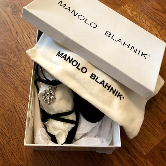 Manolo Blahnik Black Satin Sandals Image 2