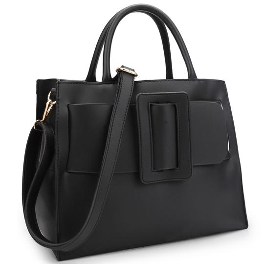 Preload https://img-static.tradesy.com/item/23627990/with-large-buckle-black-faux-leather-satchel-0-0-540-540.jpg