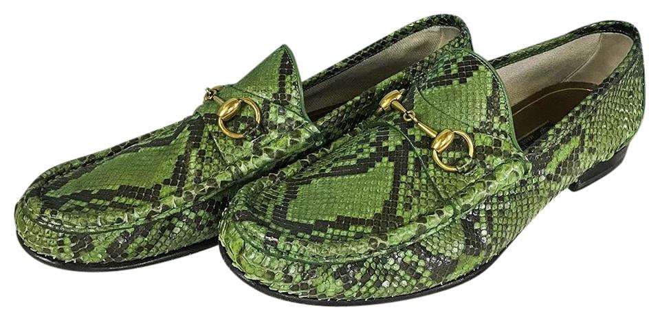 7260a637a Gucci Green Horsebit Men's Python Loafers Formal Shoes Size US 9.5 ...