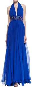 Catherine Malandrino Silk Embellished Empire Waist Halter Evening Dress