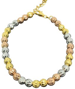 Other 18K Tri-Color Gold Diamond Cut Ball Bracelet