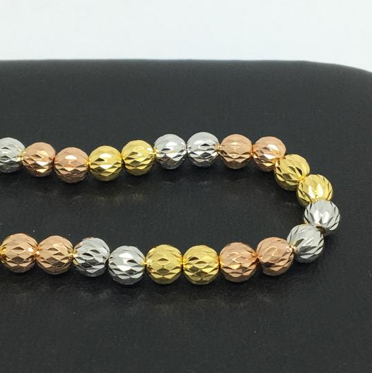 Other 18K Tri-Color Gold Diamond Cut Ball Bracelet Image 1