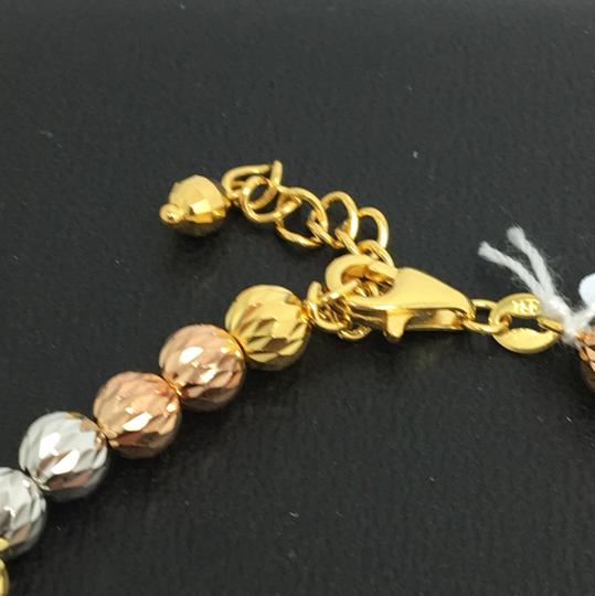 Other 18K Tri-Color Gold Diamond Cut Ball Bracelet Image 2