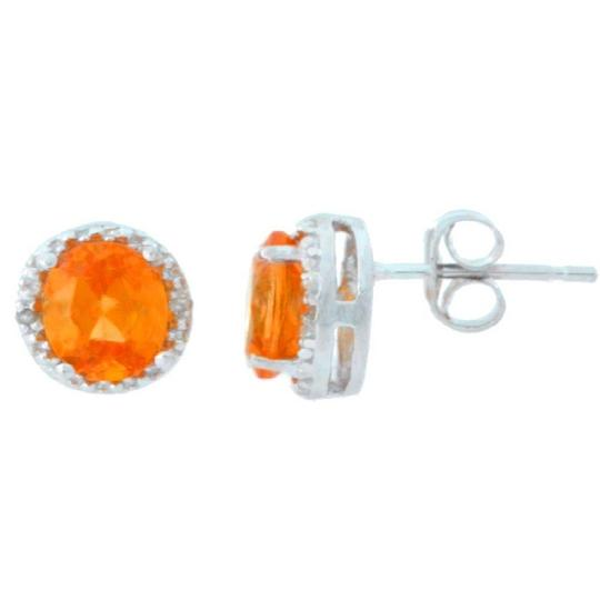 Other Citrine & Diamond Round Stud Earrings .925 Sterling Silver Image 1
