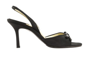 Chanel Leather Satin Slingback Black Sandals