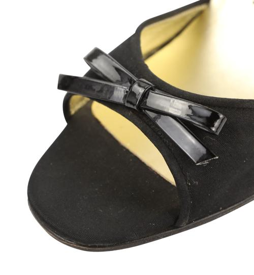 Chanel Leather Satin Slingback Black Sandals Image 7