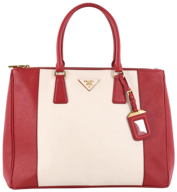 Item - Double Lux Bicolor Zip Tote Saffiano Medium Red and Off-white Leather Laptop Bag