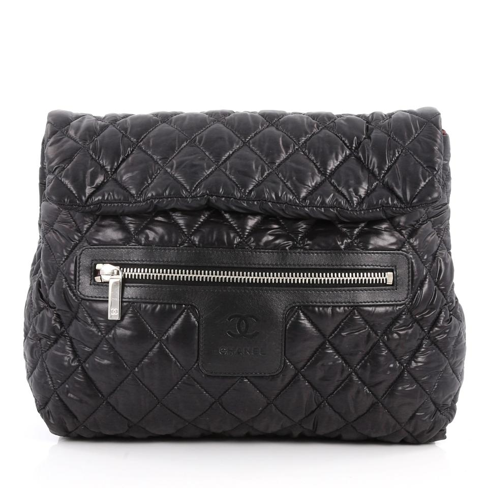 cc36f5289 Chanel Backpack Cocoon Coco Flap Quilted Black Nylon Shoulder Bag ...
