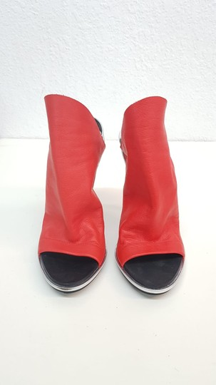 Balenciaga Leather Glove Silver Red Sandals Image 2