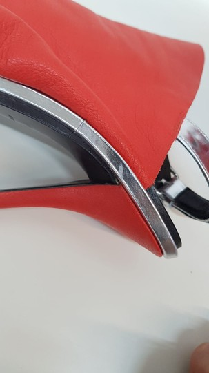 Balenciaga Leather Glove Silver Red Sandals Image 7