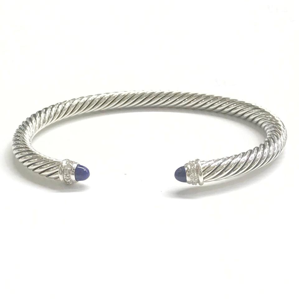 David Yurman Gorgeous Lapis Lazuli And Diamond Clic Cable Cuff Bracelet