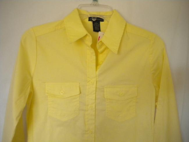 Zenana Outfitter Long Sleeve Button Front Tab Sleeves Button Down Shirt Yellow Image 1