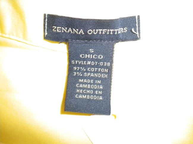 Zenana Outfitter Long Sleeve Button Front Tab Sleeves Button Down Shirt Yellow Image 4