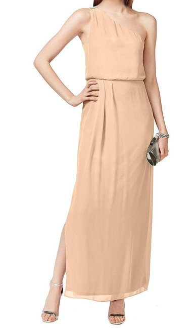 Preload https://img-static.tradesy.com/item/23629097/adrianna-papell-almond-one-shoulder-blouson-gown-long-formal-dress-size-4-s-0-0-650-650.jpg