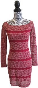 Gianni Bini Embroidered Fitted Lace Scoop Neck Dress