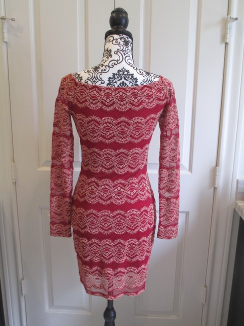 Gianni Bini Embroidered Fitted Lace Scoop Neck Dress Image 1