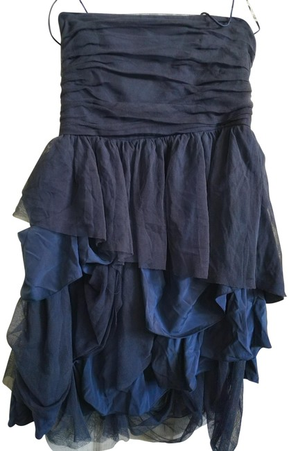 Item - Dark Blue Strapless Gathered Ruffled Skirt Mid-length Night Out Dress Size 10 (M)