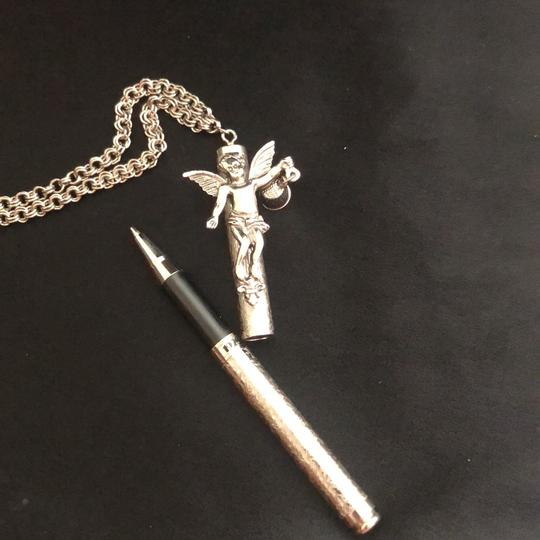1928 Pen Drop Necklace /Angel with Foxglove Image 3