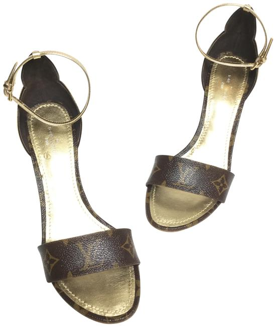 Item - Brown and Gold Sandals Wedges Size EU 37 (Approx. US 7) Regular (M, B)