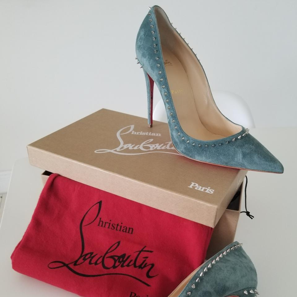 new styles 01326 5d302 Christian Louboutin Everest/Silver Anjalina 100 Veau Velours H028 Pumps  Size EU 41 (Approx. US 11) Regular (M, B) 20% off retail