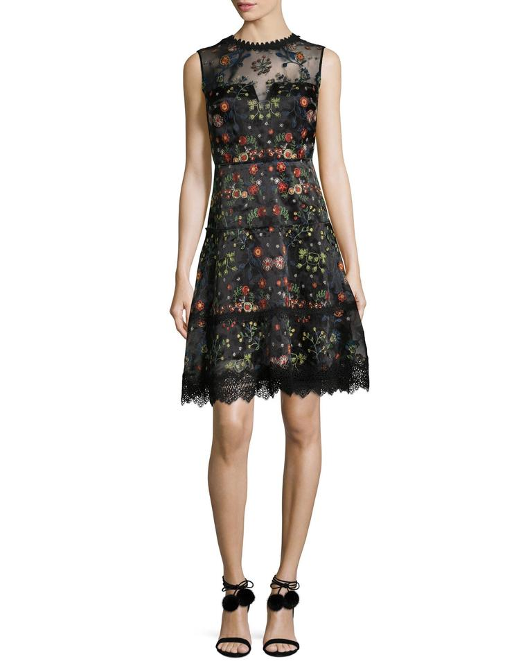 2d6e6e72f83 Elie Tahari Illusion Neckline A-line Embroidered Sleeveless Dress Image 0  ...
