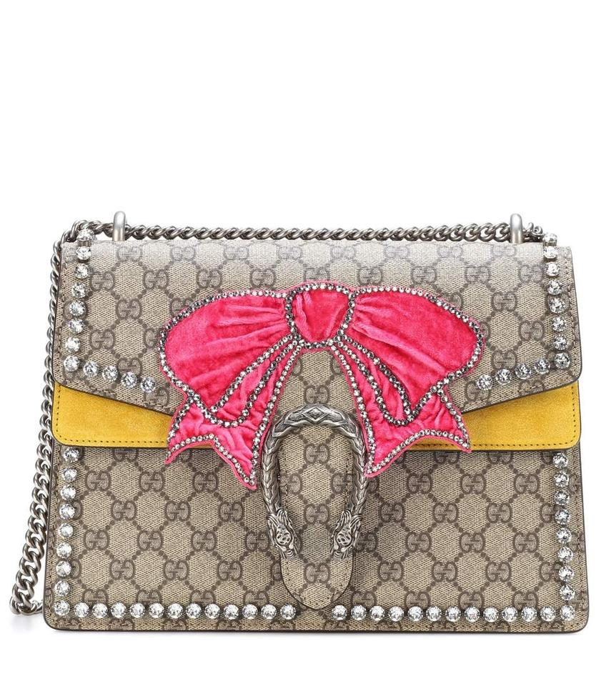 ba8894d5e82 Gucci Dionysus Medium Gg Supreme Canvas with Crystal Bow Beige Mustard Suede  Leather Shoulder Bag