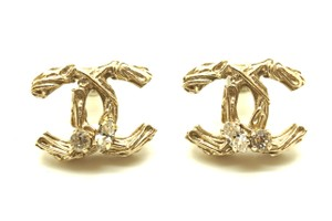 Chanel Timeless CC textured hardware crystals pierced stud earrings