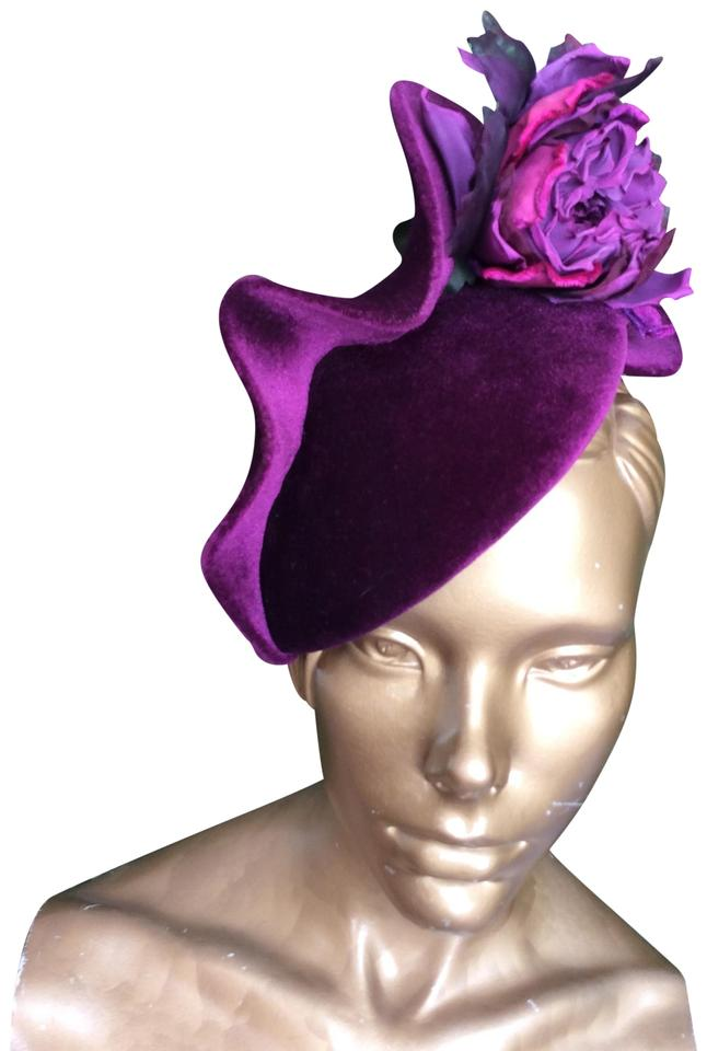 0bf0036a Philip Treacy Phillip Treacy Purple Ruffled Velvet Fascinator Image 0 ...
