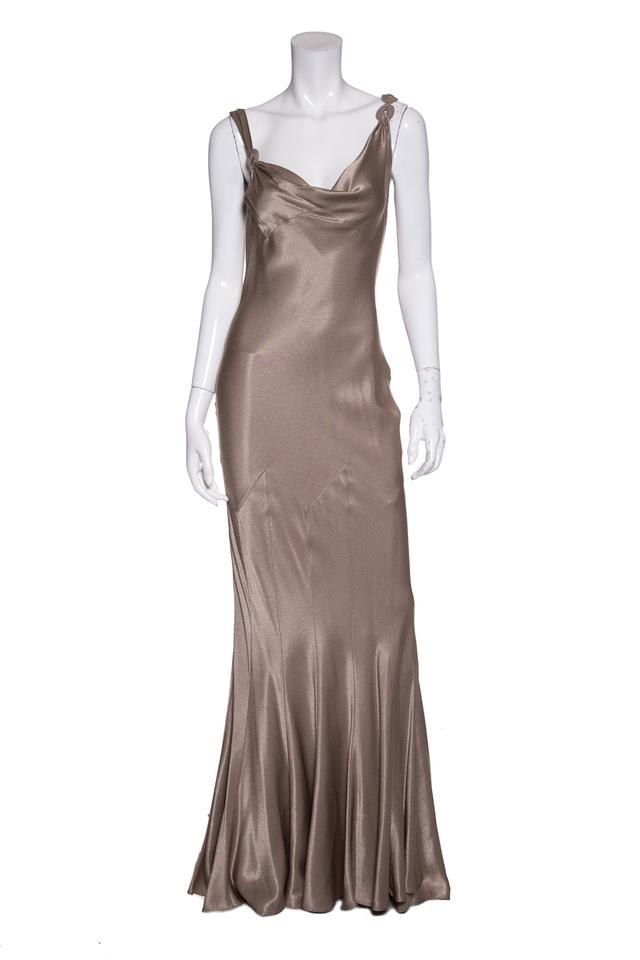 John Galliano Taupe Woven Evening Gown Long Formal Dress Size 4 (S ...
