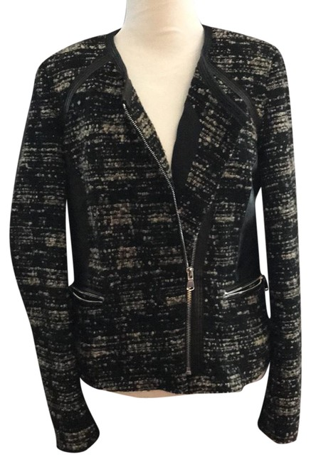 Preload https://img-static.tradesy.com/item/23629529/rebecca-taylor-blackcream-blend-tweed-leather-mix-zip-jacket-96705-blazer-size-8-m-0-1-650-650.jpg