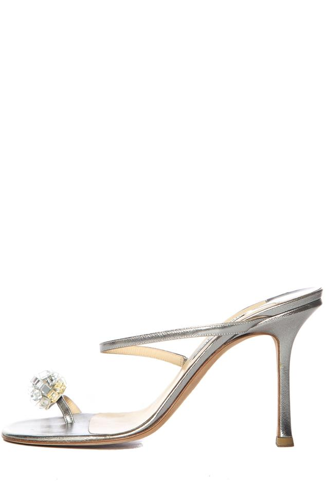 Jimmy Choo Silver Metallic Leather Sandals Sandals Leather 24aa09