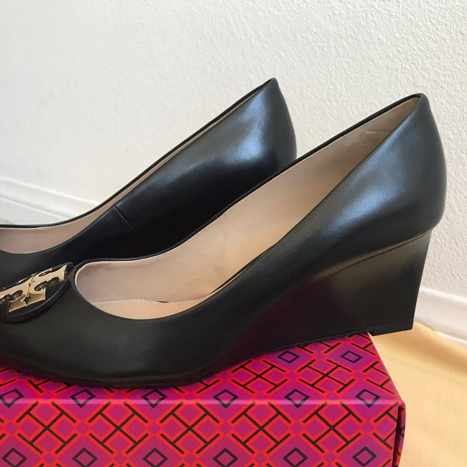7eb78d56d56ac6 Tory Burch Black   Luna   65mm Calf Leather Pumps Wedges Size US 9 ...