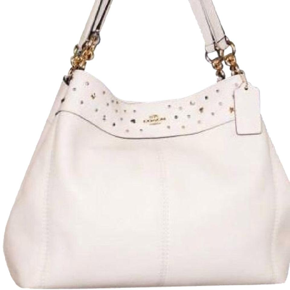 fe7577b384 Coach Lexy Studded Off-white Soft Pebbled Leather Shoulder Bag - Tradesy