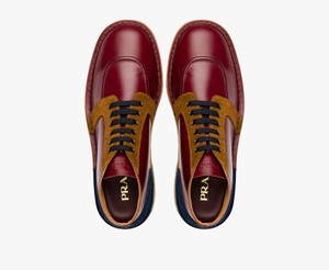 Prada Burgundy / Navy / Tabacco Leather Suede Lace Up Chukka Boots 6.5 Us 7.5 Italy Shoes