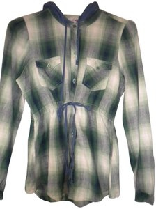 Roper Hooded Button Front Plaid Drawstring Tunic