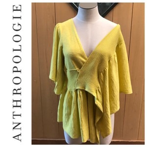 Anthropologie Top yellow/gold
