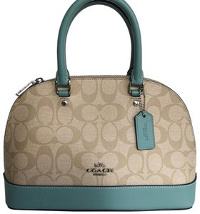 Coach Satchel in light Khaki/Aquamarine