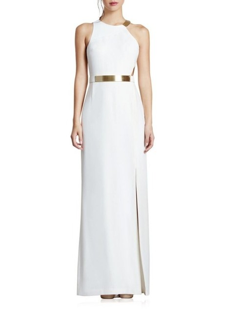Halston Eggshell Asymmetrical Crepe Column Gown Long Formal Dress Size 8 (M) Halston Eggshell Asymmetrical Crepe Column Gown Long Formal Dress Size 8 (M) Image 1