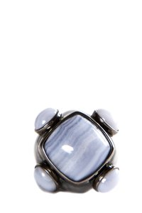 Angelique de Paris Angelique De Paris Sterling & Lace Agate Cocktail Ring SZ 7