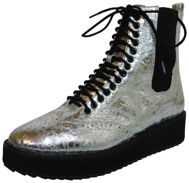 Item - Silver Lily Lace Up Chelsea Platform Wedge Boots/Booties Size US 6.5 Regular (M, B)