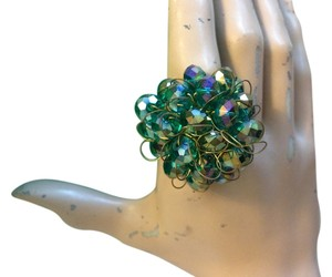 Handmade Green Bead Ring with adjustable gold wire