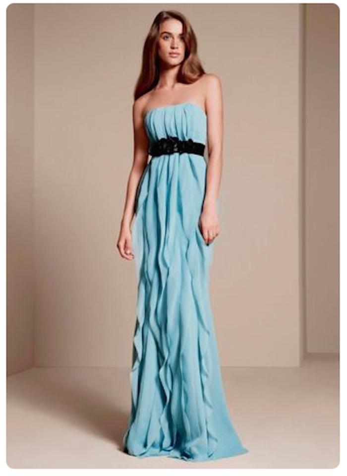 White by Vera Wang Powder Blue Chiffon Strapless Crinkle with Mikado ...