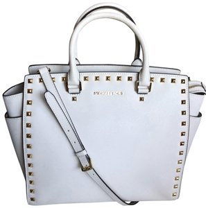 b4f07e6d5383 Added to Shopping Bag. Michael Kors Satchel in BEIGE OFF WHITE. Michael Kors  Large Studded Selma Beige Off White Saffiano Leather Satchel