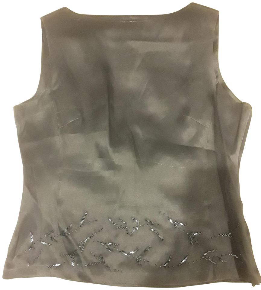 ce90c59443b09 Brooks Brothers Silver Sleeveless Silk Sequined Tank Top Cami Size ...