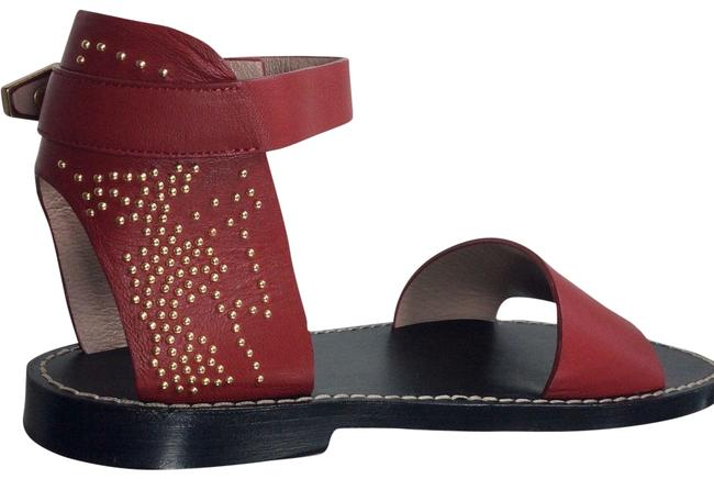 Item - Royal Red Suzanna Studded Leather Ankle Strap Sandals Size EU 39.5 (Approx. US 9.5) Regular (M, B)