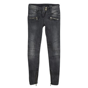 Balmain Denim Logo Detail Relaxed Fit Jeans-Distressed