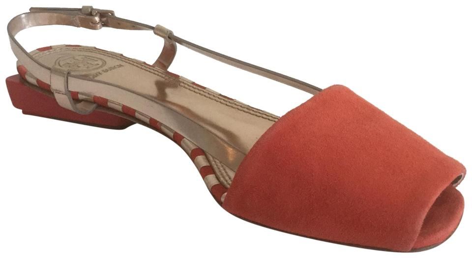 Tory Burch Poppy Gold-color Red and Rose Gold-color Poppy Pietra Sandals e83974
