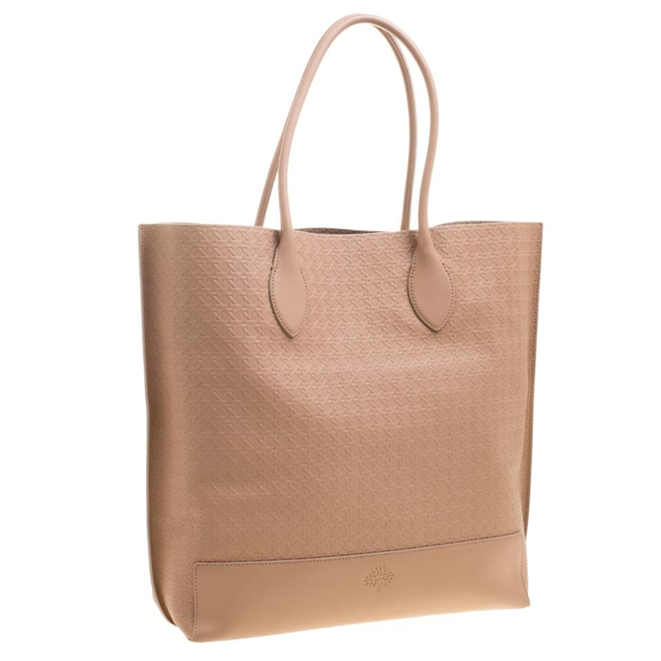 50e2f21e0b17 Mulberry Woven Embossed Blossom Shopper Beige Leather Tote - Tradesy
