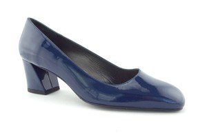 Stuart Weitzman Sw Block Heel Flared Heel Marymid Mary Mid Deep Blue Pumps